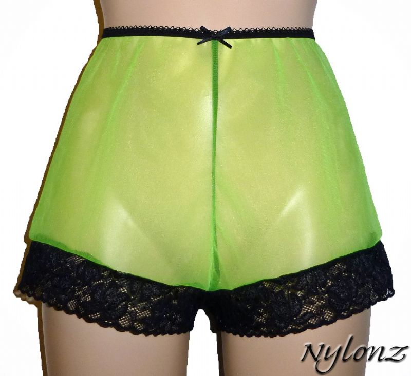 See Thru Sheer Gusset Nylon French Knickers - Green